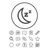 Sleep sign icon. Moon with zzz button. Standby. Document, Chat and Paper clip line signs. Question, Pencil and Calendar line icons. Star, Download and Shopping Stock Image