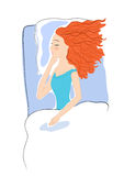 Sleep. Ing woman with red hair (flat colors Stock Image