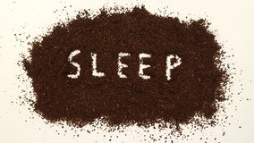 Sleep Spelled Out in Ground Coffee stock image