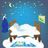 Sleep.starry sky. sleeping leprechaun Royalty Free Stock Photography