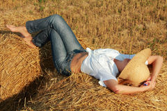 Sleep on straw Stock Photos