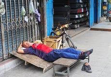 Sleep on the street Royalty Free Stock Photo