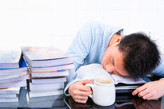 Sleep when study Stock Image