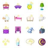 Sleep symbols icons set, cartoon style Stock Photography