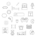 Sleep thin lined icon. Royalty Free Stock Images