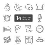 Sleep thin lined icon. Royalty Free Stock Photos