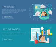 Sleep Time Banner. Sleep time horizontal banner set with deprivation disorder flat elements isolated vector illustration Stock Images