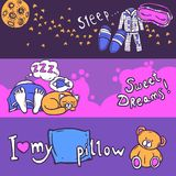 Sleep Time Banner Set Royalty Free Stock Photo