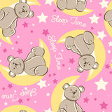 Sleep time bear sitting on moon seamless pattern Stock Photo