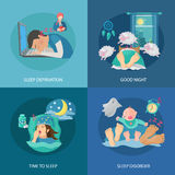 Sleep Time Flat. Sleep time design concept set with deprivation and disorder flat icons isolated vector illustration Royalty Free Stock Photos