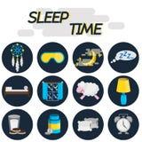 Sleep time flat icon set Royalty Free Stock Photo