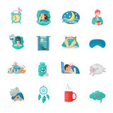 Sleep Time Flat Icons Set Royalty Free Stock Photography
