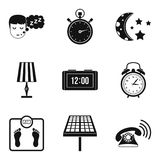 Sleep time icon set, simple style Stock Photography