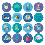 Sleep Time Icons. Sleep time flat long shadow icons set with alarm clock snoring man bedroom isolated vector illustration Stock Photos