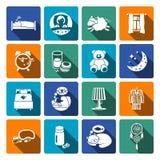 Sleep time icons flat Royalty Free Stock Photo