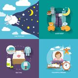 Sleep time icons flat Royalty Free Stock Images