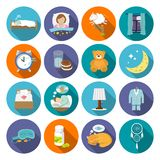 Sleep time icons flat Stock Photography