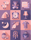 Sleep Time Icons Flat Vector Illustration Royalty Free Stock Image
