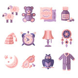 Sleep Time Icons Flat Vector Illustration Royalty Free Stock Photo