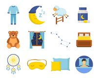 Sleep time icons set in a flat style. Collection nap night bedtime isolated on white background. Stock Photography
