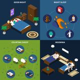Sleep Time Isometric Design Concept. With persons in bed, insomnia and exercise counting sheep isolated vector illustration Royalty Free Stock Image
