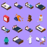 Sleep Time Isometric Icons Set. Sleep time set of isometric icons with persons in bed, clock on blue background isolated vector illustration Royalty Free Stock Image