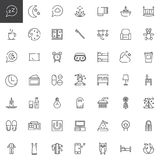 Sleep time line icons set. Outline vector symbol collection, linear style pictogram pack. Signs, logo illustration. Set includes icons as bed, dream, night Royalty Free Stock Photo