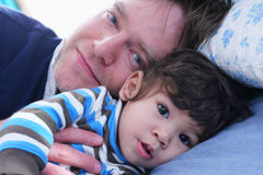 Sleep time with my dad Stock Image