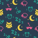 Sleep time seamless pattern Royalty Free Stock Images