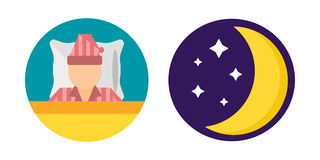 Sleep time set pajamas moon icon vector illustration bed sign symbol isolated dream bedroom bedtime nap pyjamas moon. Sleep time pajamas moon set icon flat Stock Images