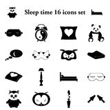 Sleep time 16 simple icons set. Sleep time and comfort sleeping 16 simple icons set Stock Photography