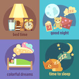 Sleep time vector concept backgrounds set Stock Images