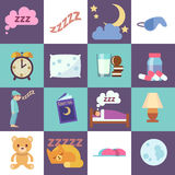 Sleep time vector flat icons. Night rest symbols illustration Royalty Free Stock Photography