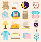 Sleep time vector icons flat set with window milk isolated illustration sleep icons moon set pillow clock dream healthy. Sleep time icons flat set with window Stock Image