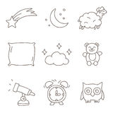 Sleep. Vector icons, hand-drawn Royalty Free Stock Image
