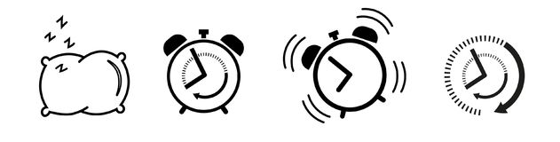 Sleep and wake up Icon set alarm clock, pillow vector illustration
