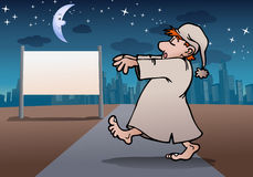 Sleep walker. Illustration of a man wear pajamas sleep walker in night on city background Stock Photo