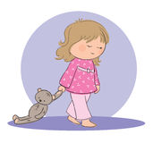 Sleep walking girl. Hand drawn picture of girl sleep walking with his teddy bear. Illustrated in a loose style. Vector eps available Royalty Free Stock Photos