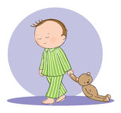 Sleep walking. Hand drawn picture of boy sleep walking with his teddy bear. Illustrated in a loose style. Vector eps available Stock Image