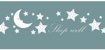 Sleep well moon and stars. Sleep well. Cute and simple vector illustration of a sleeping moon with stars. Clean design Royalty Free Stock Images