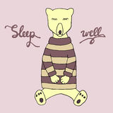 Sleep well sketch. Bear asleep. Royalty Free Stock Photography