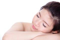 Sleep Woman close up portrait Royalty Free Stock Photography