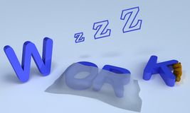 Sleep work. Background picture of sleeping work stock illustration