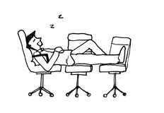 Sleep at work illustration Stock Photos