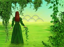 Sleep 16 year old girl. Early summer morning, sun-drenched green meadows, lush lianas. Five rainbows flashed on the horizon, as th royalty free illustration