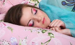 Sleep young girls stock images