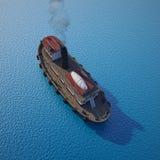 Sleepboot op het water Stock Afbeelding