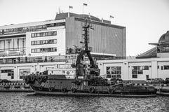 Sleepboot technische vloot Vastgelegde ligplaats bij de haven royalty-vrije stock fotografie