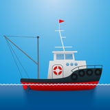 sleepboot Vissersschip De stijl van het beeldverhaal Grappig beeld Vector beeld Royalty-vrije Stock Afbeelding