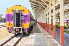 Sleeper class train car on train station Stock Photo
